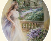 Giclee Museum quality, romantic landscape, garden woman white dress,beautiful mat, 16x20 Laurie Shanholtzer