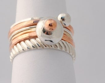 Contemporary Stacking Rings - Sterling, Fine Silver, Bronze & Copper  - Made to Order