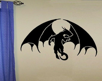 vinyl wall decal Winged Dragon design