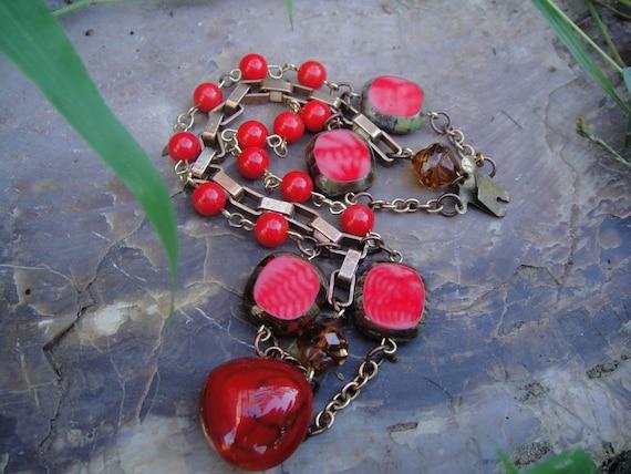 OOAK Bohemian Red Czech Glass Beaded Bracelet