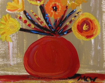 On a Red Shelf Original Acrylic Flowers Self Taught Painting Mary Carol Williams MCW art Primitive Folk Outsider