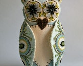 Felt Owl Doll- Mexican Folk Art- Blue and White