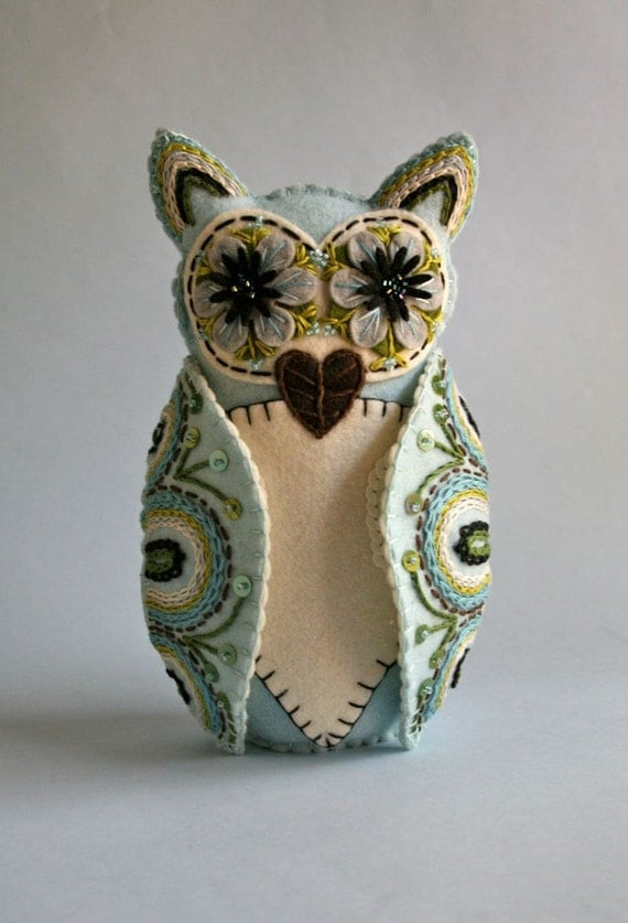 Felt Owl Doll- Mexican Folk Art- Blue and White