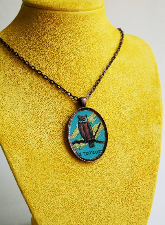 Owl Necklace - Mexican Loteria Pendant Necklace