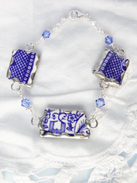 Broken China Jewelry Bracelet - Blue Willow