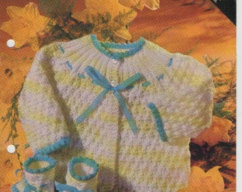 ON SALE - Villawool Baby Jacket and Bootees Knitting Pattern L459  in 5 ply Vintage 1970s