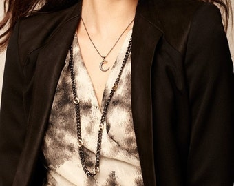 Delicate simple modern Panther Pendant Necklace