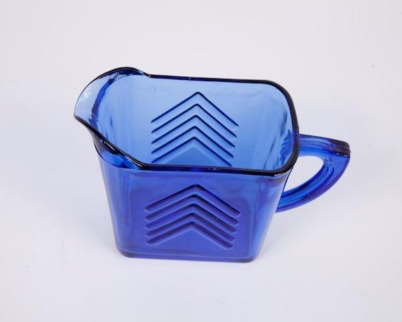 Vintage Hazel Atlas Creamer Cobalt Blue Arrow Glassware Pitcher Chevron Pattern