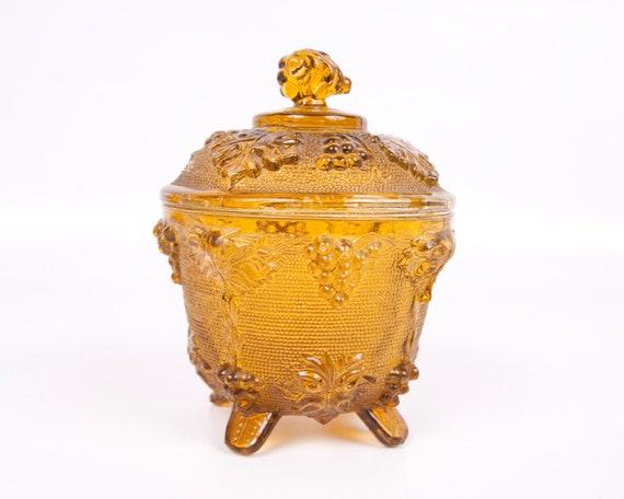 Covered Candy Dish Amber Covered Footed Grapevine Pattern Compote Pressed Glass