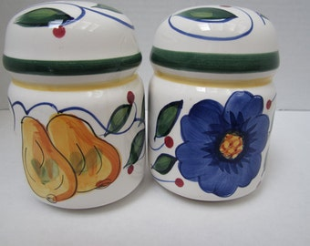 Fruit and Flower Design Salt and Pepper Shakers c1970