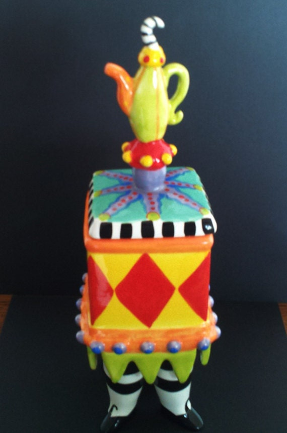 Whimiscial Candy Dish Brightly Colored c1980