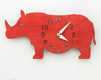"The ""Rotund Rhino in Red"" Kid's wall mounted clock from LeLuni"