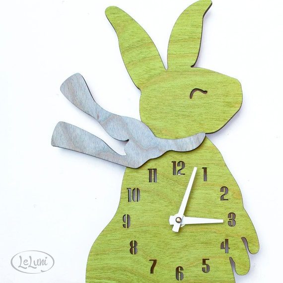 """The """"Baby Bunny in Lime Green"""" designer wall mounted clock from LeLuni"""