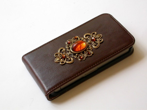 Chocolate Leatherette iPhone 4 and 4s Flip Case - Swarovski Smoked Topaz Rhinestones - iPhone Accessories
