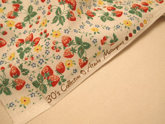 YUWA Atsuko Matsuyama Fabric - 30's collection, strawberry fabric in white, sewing strawberry fabric, Japanese fabric