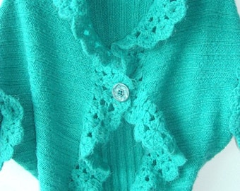 Emerald women green vintage knitted  jacket with one front button