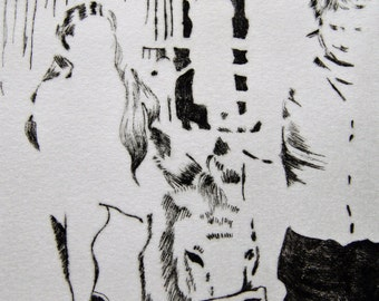 Original dry point print - girl on a donkey being led by her grandfather - black and white, farm, countryside