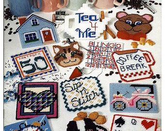 Plastic Canvas Pattern Book: Mug Mats - American School of Needlework 3087