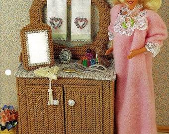 Barbie Furniture Plastic Canvas Pattern - Antique Washstand & Mirror