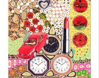 Original kitsch collage art,  femininity, time theme, interior decoration - Collage III