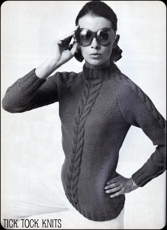 """No.85 PDF Vintage Knitting Pattern For Women - Dramatic Cables Pullover - Retro Pattern - Instant Download - Bust Sizes 36"""" - 43"""""""