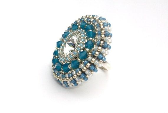 Ring, Beaded, Swarovski, Blue Opal Statement Cocktail Ring, Adjustable Ring Band, 'Blue Sky'