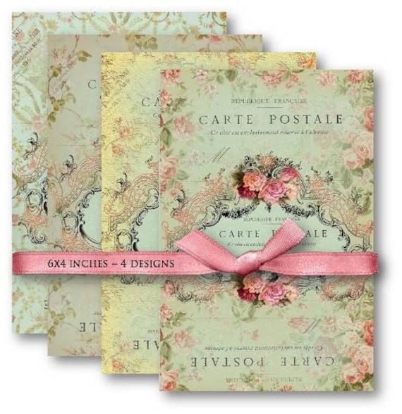 Digital Collage Sheet Download - Carte Postale Backgrounds -  486  - Digital Paper - Instant Download Printables