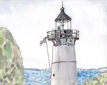 Fine art giclee print signed by the artist 11x14  landscape painting Warwick Light New England Lighthouse Sea Nautical Art Beach Decor Home