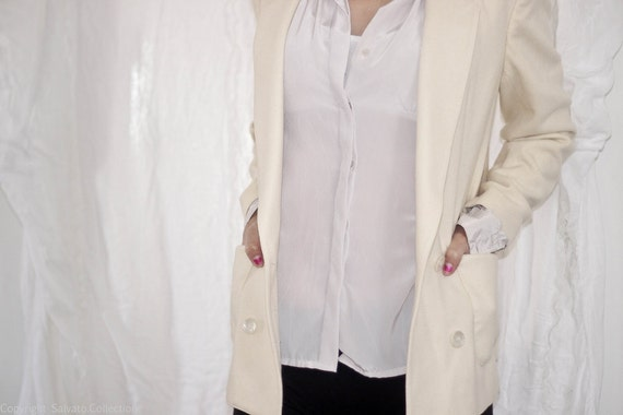 Reserved White Vintage Blazer - Double Breasted Ivory Lined Wool Suit Jacket
