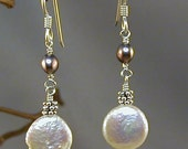 Sterling Silver White and Grey Luminous Freshwater Pearls Silver Beads Earrings June Birthstone