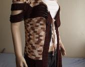 SLITS - Crochet Vest -  Long Vest / Fringed Vest / Hem Slits / Shoulder Straps / Shoulder Slits / Hem FRINGE / Tie Cord / 50% OFF !!!