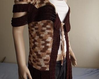 SLITS - Crochet Vest -  Long Vest / Fringed Vest / Hem Slits / Shoulder Straps / Shoulder Slits / Hem FRINGE / Tie Cord / Custom Order