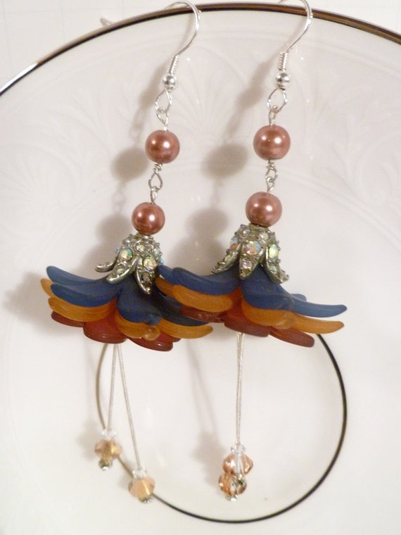 Flower Dangle Earrings with Pearls and Crystals