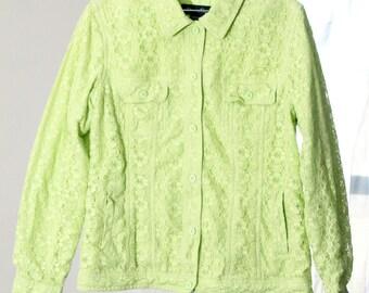 Neon Pastel Green Jean Jacket-Style 90s Lace Jacket