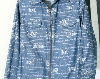 Thin Blue Denim 90s Zip-Up Jacket with CRAZY Nonsense Words Printed All Over It