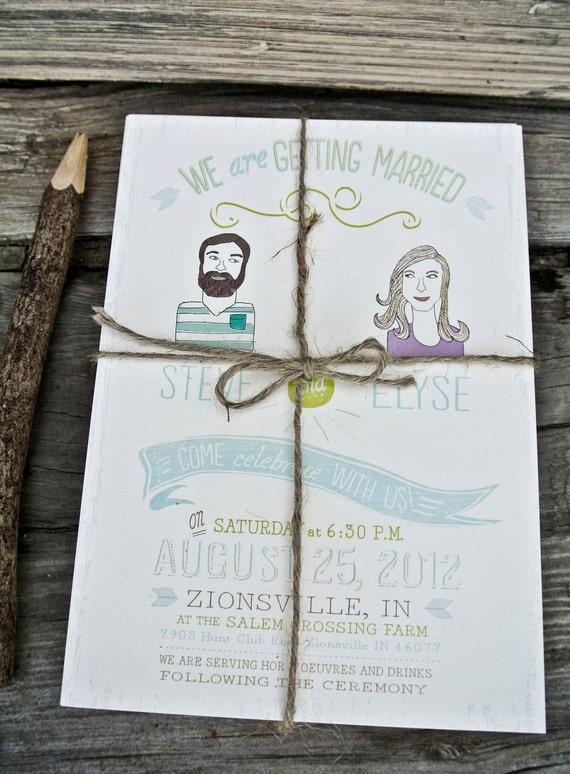 Items Similar To Custom Portrait Hipster Wedding Invitation