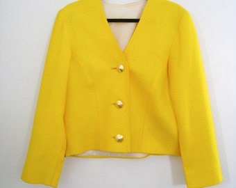 Vintage 1980s Sunny Yellow Jacket / Box Jacket / Blazer with Gold Buttons - Size Medium