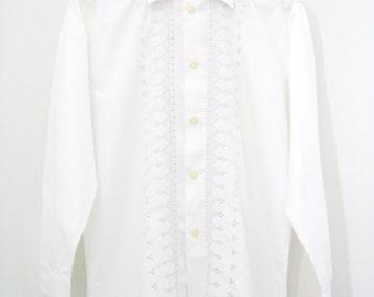 Vintage 1970's Shirt / Mens Embroidered Shirt / Long Sleeve Shirt - Size Medium