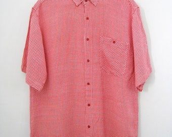 Vintage Mens Checkered Shirt - Short Sleeve, Red and White - Size Large
