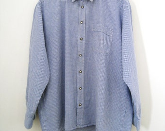 Vintage Mens Cotton Shirt with Check Pattern - Size Large