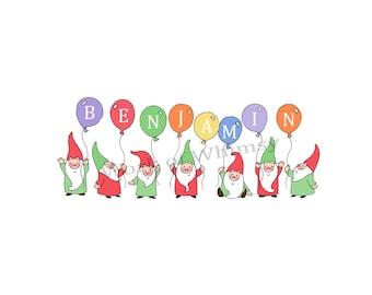 Garden Gnomes with 8 Balloons Personalized Name Print childs room decor babys room decor Christmas Birthday Gift home decor seasonal decor