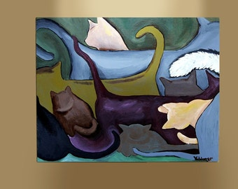 "ART PRINT- ""Heads or Tails"" giclee print of acrylic painting, modern art, cat painting, abstract art"