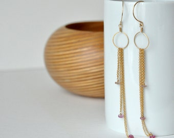 Extra Long Earrings - Gold filled Chain Earrings - Sapphire Earrings - Cascading Earrings w/ Pink Sapphire - Circle Earrings - Pink Earrings