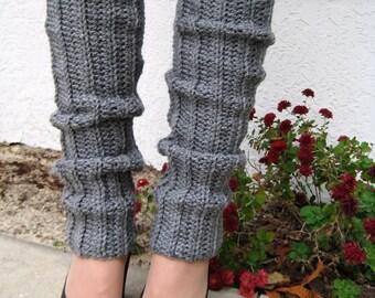 SALE--Heather Gray Crocheted Leg Warmers, Handmade Knit Ankle Warmers, Dance Wear, Ballet, Jazz, Women's Warm Winter Accessory, 80's Style