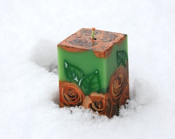 Handmade Candle Cube, Roses On Green, Hand Painted Candle, Table decor, Christmas Gift, Thanksgiving Table Decor, Autumn Wedding Favors