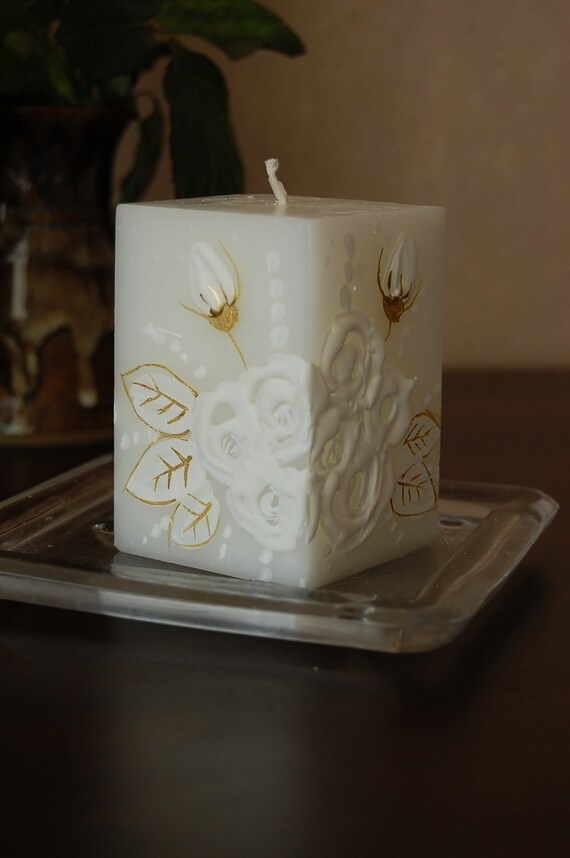 Handmade Candle Cube With Handpainted White Roses. Wedding Candles, Table decor, Wedding favors, Baptism Christening Decoration.