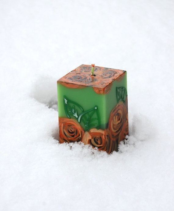 SALE! Ready to Ship - READY30  Handmade Candle Cube, Roses On Green, Hand Painted Candle, Table decor, Christmas Gift