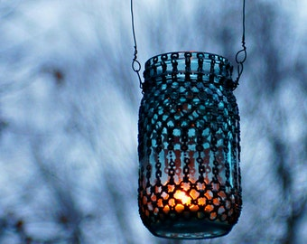 Hippie Inspired Hanging Lantern, Mason Jar Candle Holder with Blueberry Glass and Pewter Chainmail Metallic Accents
