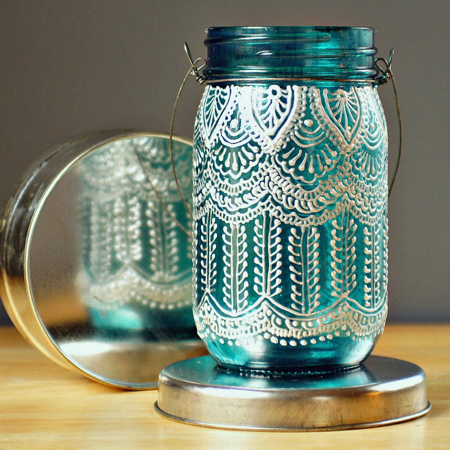 Hand Painted Mason Jar Lantern with Peacock Blue Glass by ...