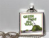 Dr. Seuss Green Eggs and Ham Square Tile Pendant Necklace